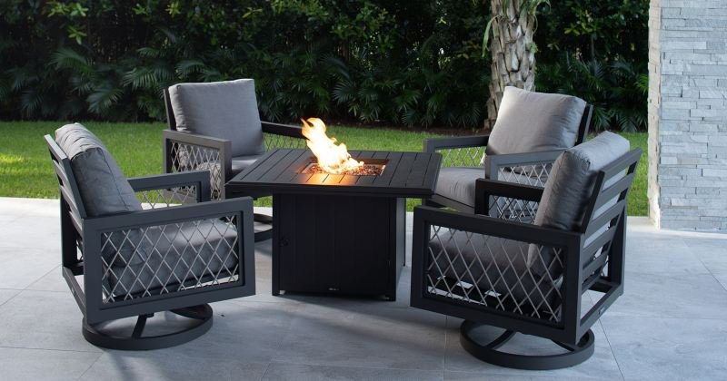 Fire pit tables with chairs