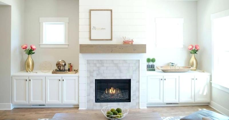 Fireplace with stone and shiplap