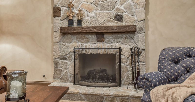 Fireplace with stone mantel