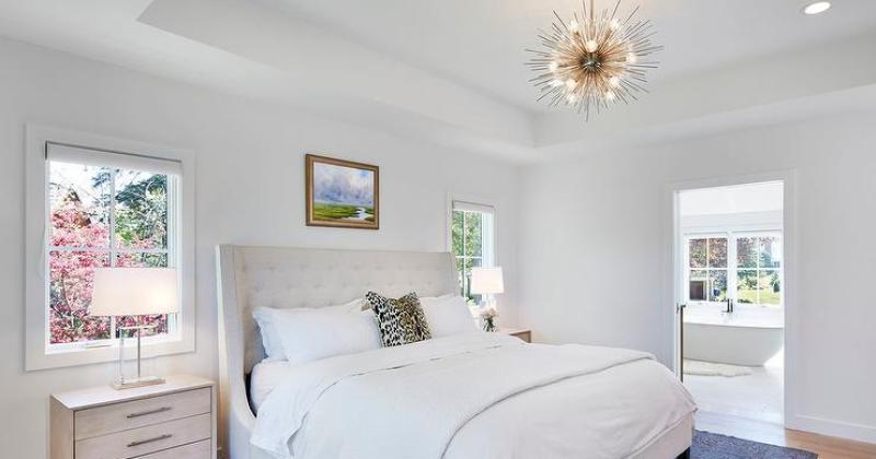 Flush mount chandelier bedroom lighting