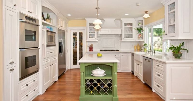 French country kitchen white cabinets
