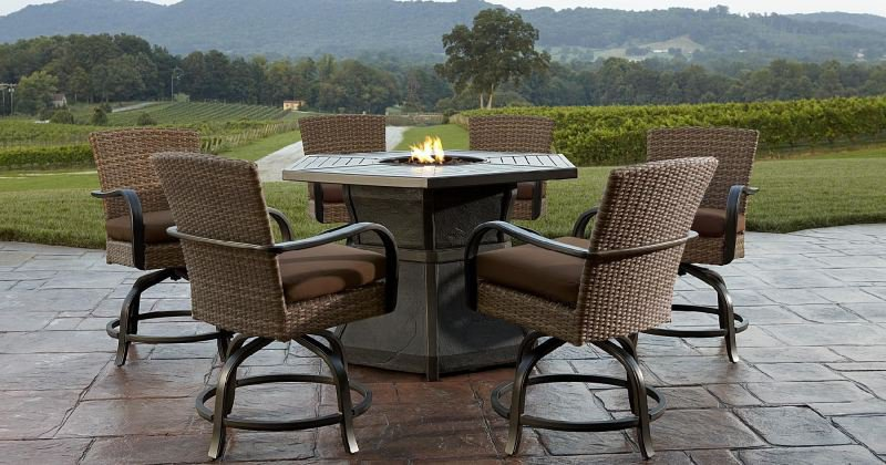 Gas fire pit table with chairs