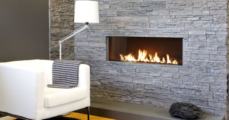 Gas fireplace designs with stone