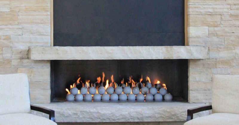 Gas fireplace stone balls
