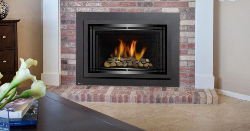 Gas fireplace stone inserts