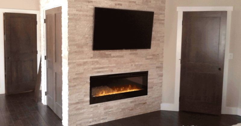 Gas fireplace with faux stone