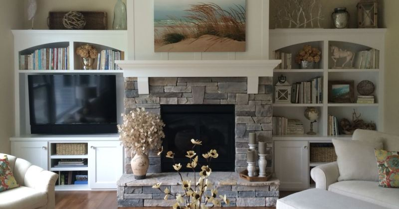 Gas fireplace with stacked stone