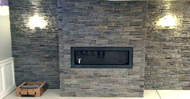 Gas fireplace with stone mantel