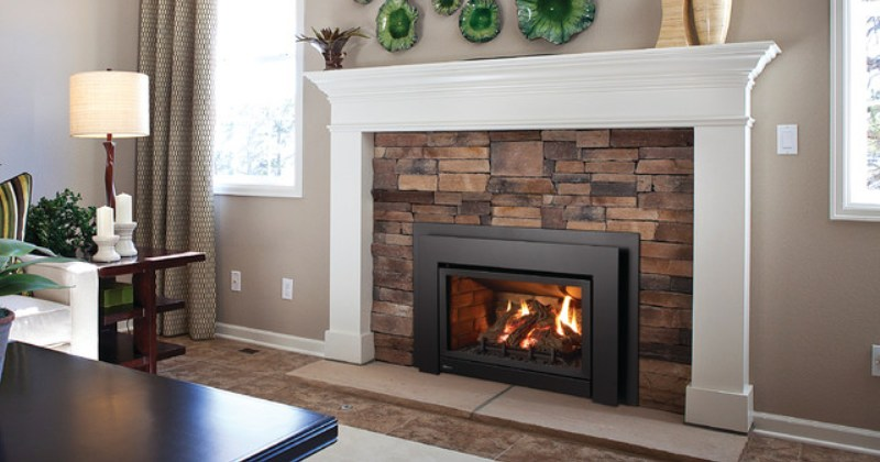 Gas fireplaces with stone