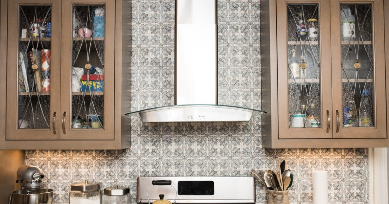 Glass cabinet doors with design