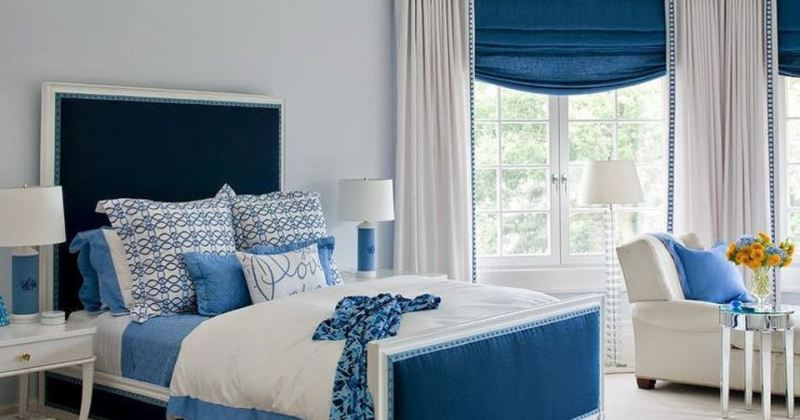 Images of blue and white bedrooms