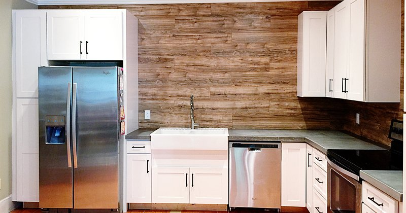 Laminate flooring for kitchen backsplash