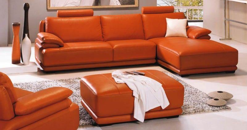 Living rooms with orange sofas