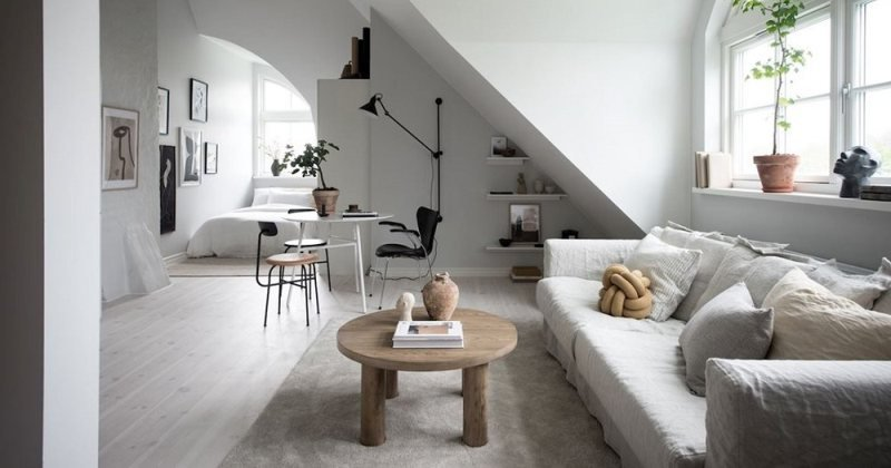 Modern minimalist studio apartment