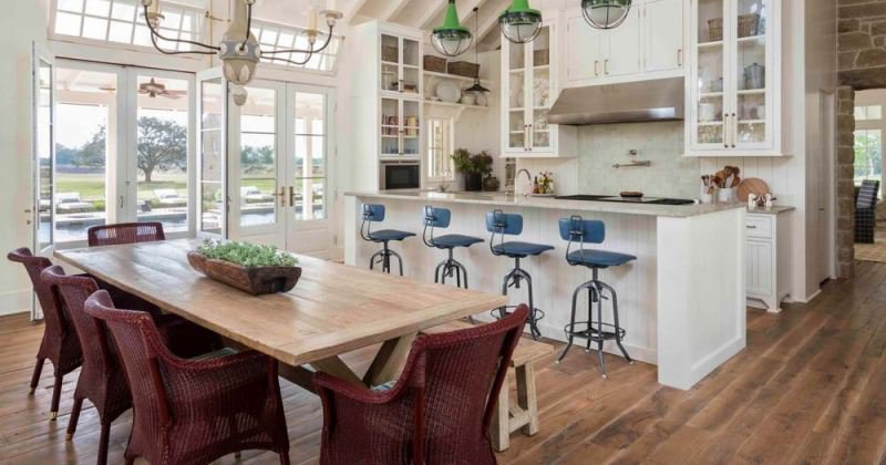 Open floor plan farmhouse kitchen