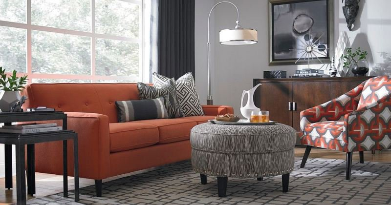 Orange couch living room ideas