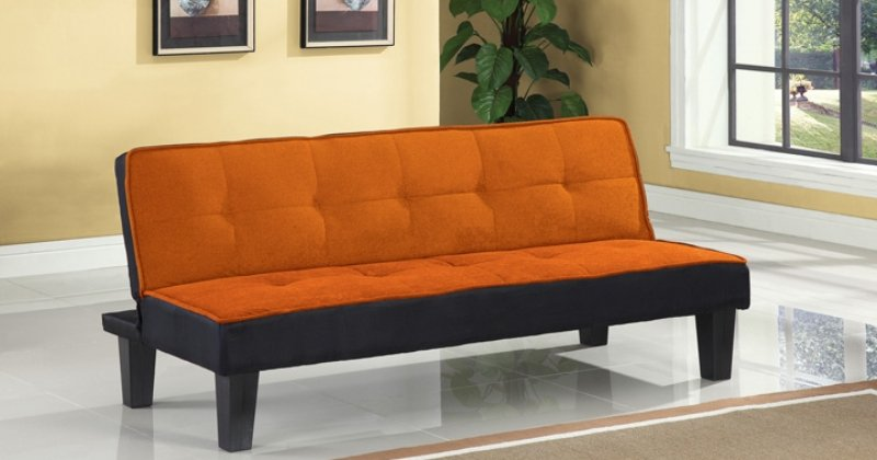 Orange futon sofa bed