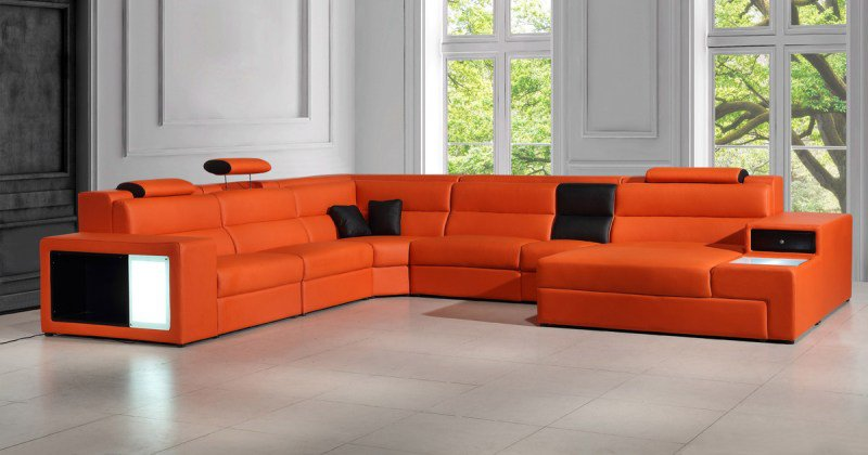 Orange leather sofas