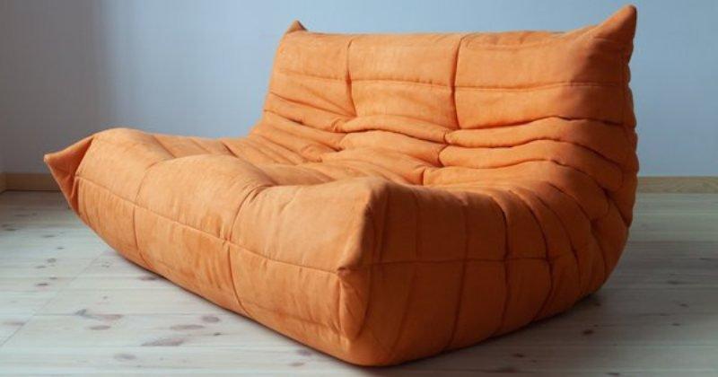 Orange microfiber sofa