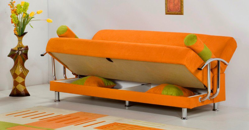 Orange sofa bed