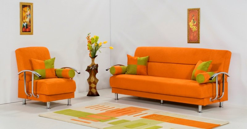 Orange sofa chair