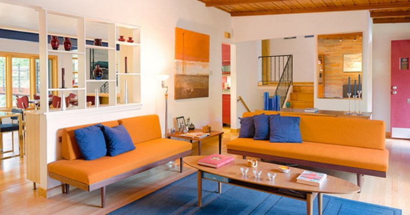 Orange sofa in living room