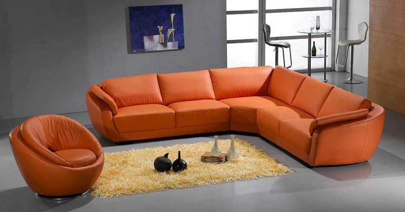 Orange sofa sectional