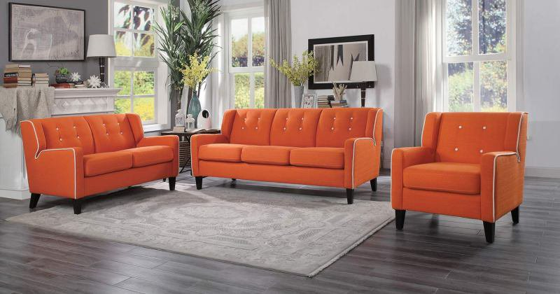 Orange sofa set