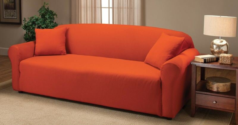 Orange sofa slipcover