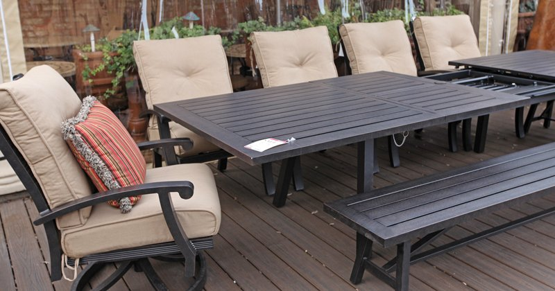 Outdoor dining set with bench seats