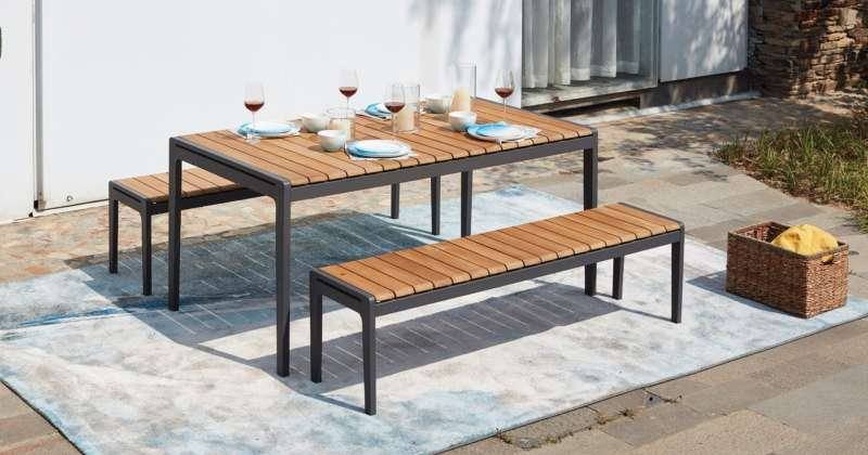 Outdoor dining set with bench
