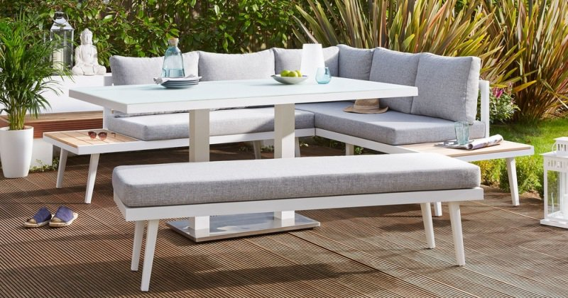 Outdoor dining table and bench set