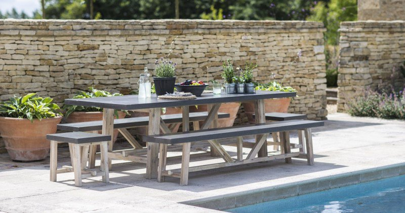 Outdoor dining table bench set