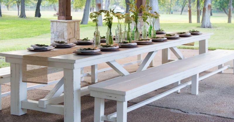 Outdoor dining table set with bench