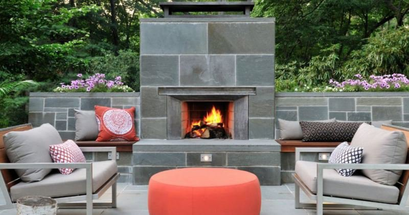 Outdoor patio fireplace with chimney