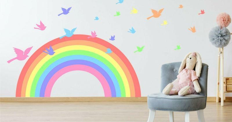 Pastel rainbow kids room