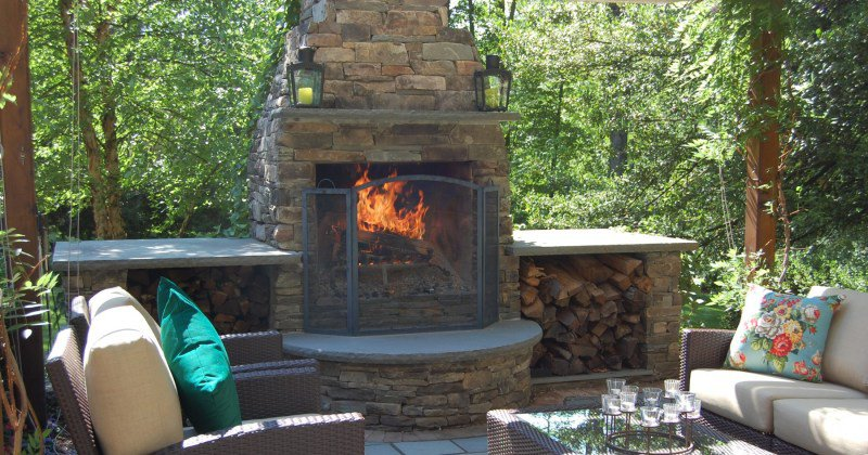 Patio fireplace with chimney