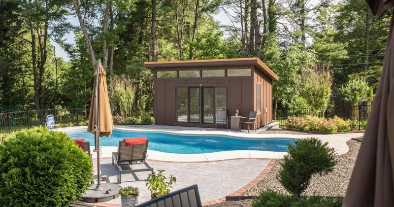 Pool house shed designs