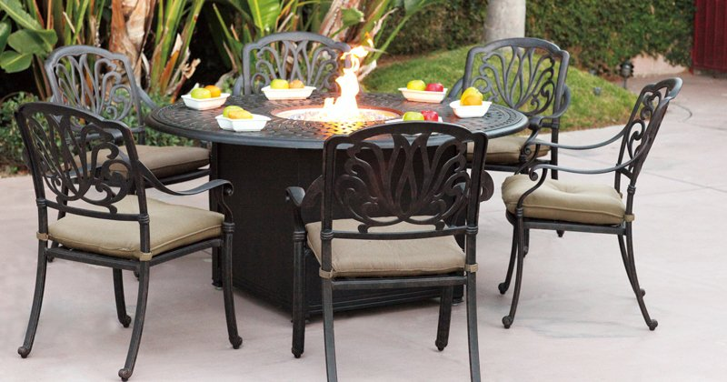 Propane fire pit table with chairs