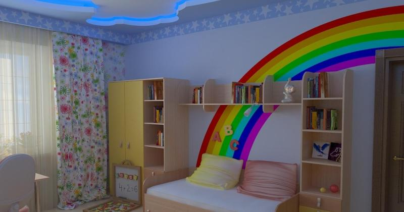 Rainbow kids bedroom wall