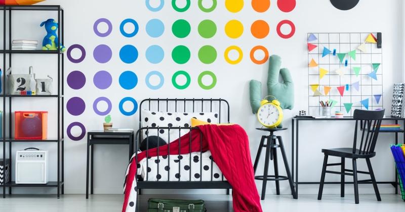 Rainbow themed bedroom kids ideas