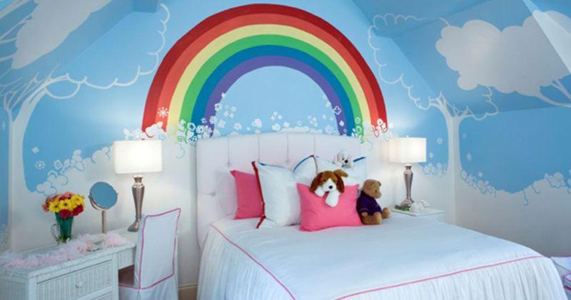 Rainbow wallpaper for childrens bedroom