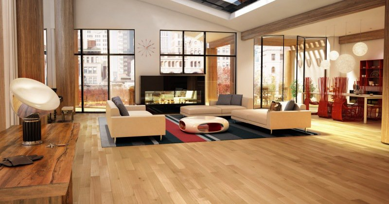Red oak flooring natural finish