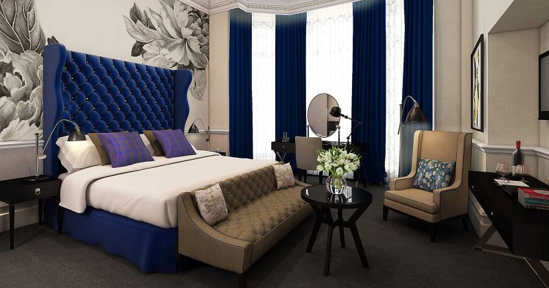 Royal blue and white bedroom