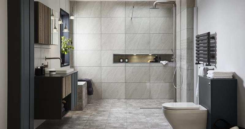 Scandinavian bathroom black white
