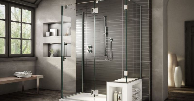Shower enclosure with seat