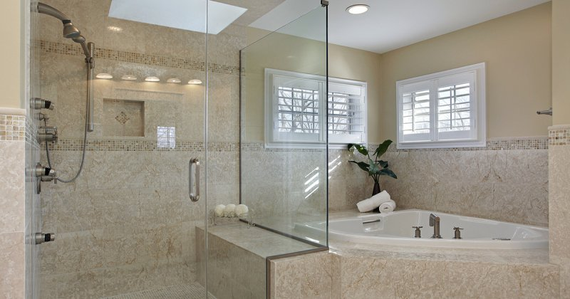 Shower enclosure with tub