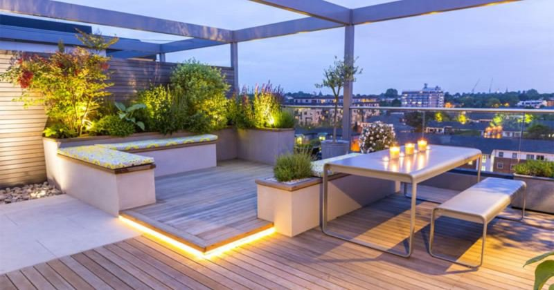 Small rooftop terrace design