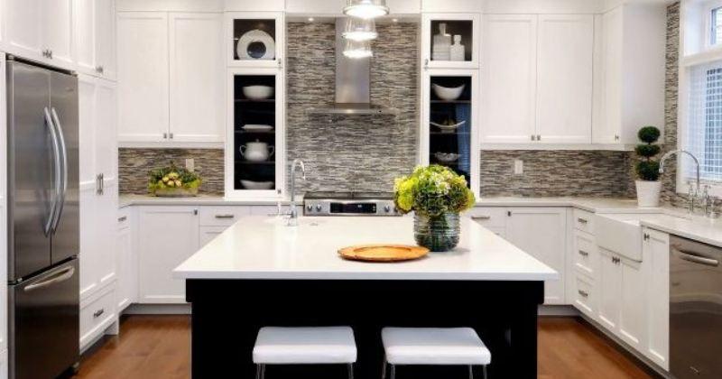 Stacked stone in interior decor kitchen