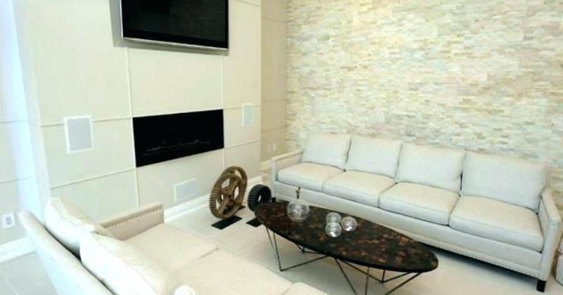 Stacked stone interior accent wall